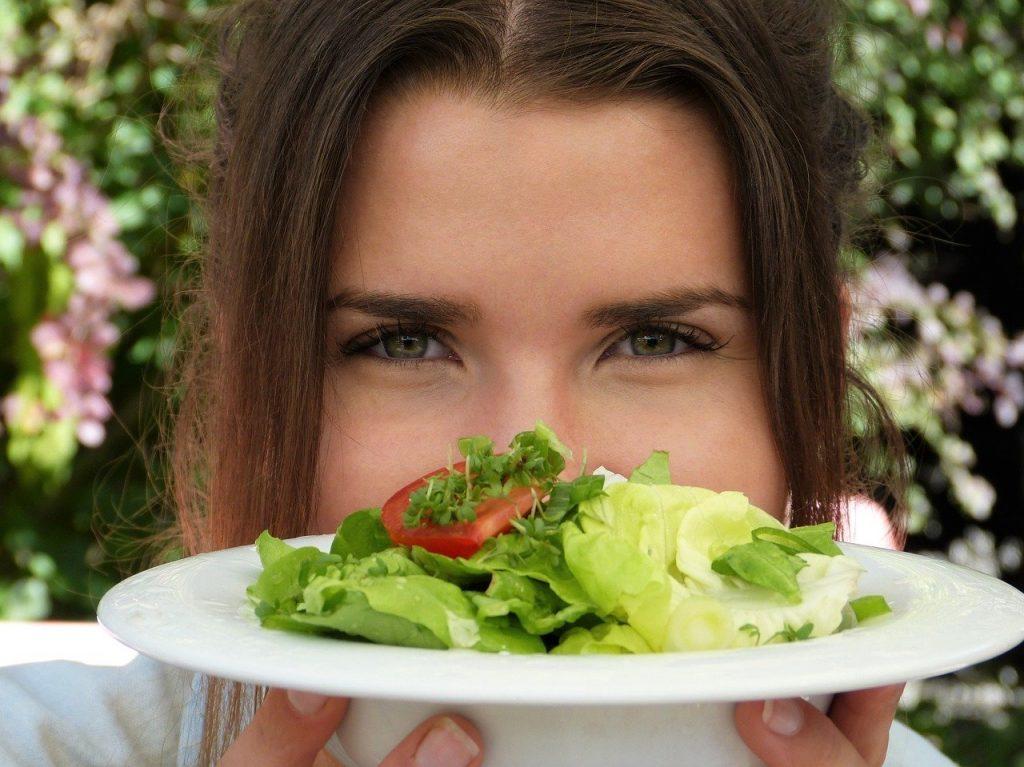 salad, plate, girl